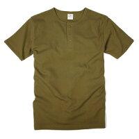 AVIREX 半袖Tシャツ 無地 デイリー ヘンリーネック オリーブグリーン Sサイズ アヴィ