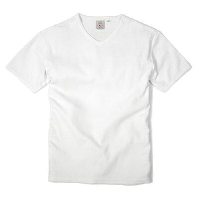 AVIREX Tシャツ 半袖 Vネック ワッフル無地 デイリー ホワイト Sサイズ アヴィレッ