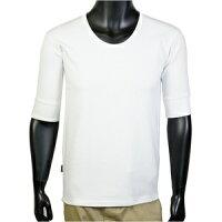 AVIREX 5分袖Tシャツ 無地 デイリー Uネック ワッフル ホワイト Lサイズ アヴィレ