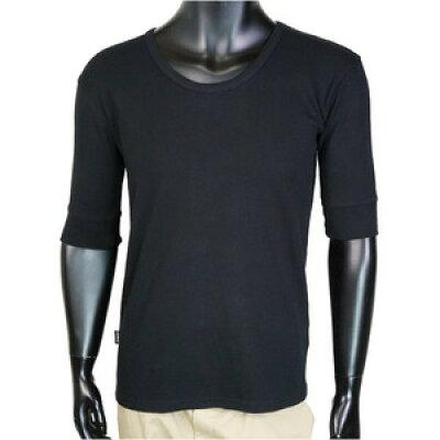 AVIREX 5分袖Tシャツ 無地 デイリー Uネック ワッフル ブラック Lサイズ アヴィレ