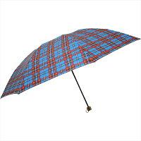 plus nico/プラスニコ 折りたたみ傘 手開き 70タータンチェックカラビナ付きミニ ネイビー