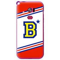 イニシャル アルファベット B レッド (クリア) / for HONEY BEE 201K/SoftBank