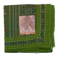 染織の技 琉球花織ハンカチ 緑 ×3枚