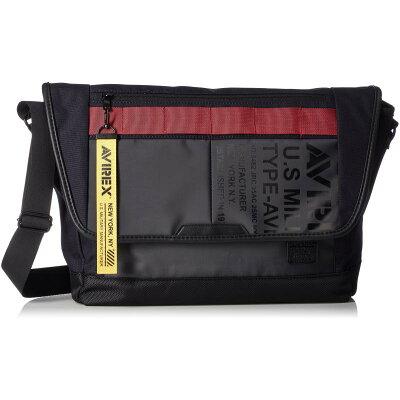 AVIREX/アヴィレックス AVX592 メンズ デニム×ターポリン フラップショルダーバッグ ネイビー×レッド