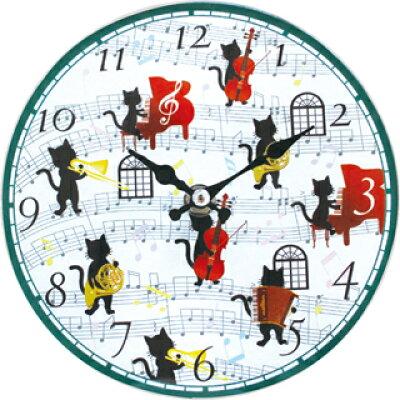 8090069 ウォールクロック・黒猫の音楽会 サイズ:約横170×縦170×奥行40mm 素材:ガラス 単三電池 使用 別売