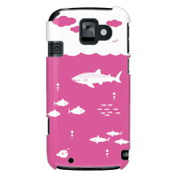 uistore (Fish's ocean (pink)) / for らくらくスマートフォン2 F-08E/docomo (SECOND SKIN) (全面)