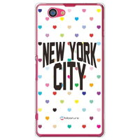 NYC マルチハートドットホワイト (クリア) design by Moisture / for Xperia Z1 f SO-02F/docomo(SECOND SKIN)