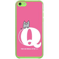 letter&cat ピンク Q (クリア) design by PansonWorks / for iPhone 5c/docomo (SECOND SKIN)(ハードケース)