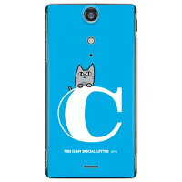 letter&cat ブルー C (クリア) design by PansonWorks / for Xperia GX SO-04D/docomo (SECOND SKIN)