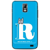 letter&cat ブルー R (クリア) design by PansonWorks / for GALAXY S II LTE SC-03D/docomo (SECOND SKIN)