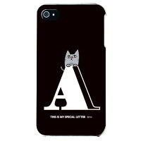 letter&cat ブラック A (クリア) design by PansonWorks / for iPhone 4S/SoftBank (SECOND SKIN)