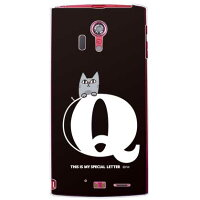 letter&cat ブラック Q (クリア) design by PansonWorks / for ARROWS X LTE F-05D/docomo (SECOND SKIN)
