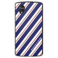(スマホケース)ROTM Stripe ネイビー (クリア)design by ROTM / for Google Nexus 5 EM01L/EMOBILE (SECOND SKIN)
