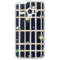(スマホケース)SINDEE 「Flower Grid (ネイビー)」 (クリア)/ for AQUOS PHONE ZETA SH-06E/docomo (SECOND SKIN)