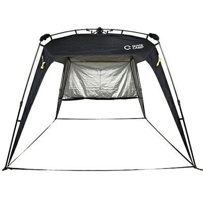 クイックキャンプ ワンタッチタープ 2.5m UVカット アウトドア タープテント フラップ付き ブラック QC-TP250