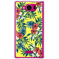 SECOND SKIN リゾートフラワー イエロー クリア / for AQUOS PHONE SERIE mini SHL24/au ASHL24-PCCL-298-Y425