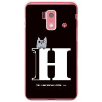 SECOND SKIN letter&cat ブラック H クリア design by PansonWorks / for スマートフォン for ジュニア2 SH-03F/docomo DSH03F-PCCL-203-Y611