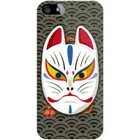 Coverfull キツネ面開眼 波ブラック クリア design by figeo / for iPhone 5s/au AAPI5S-PCCL-152-M675