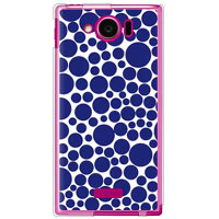 SECOND SKIN バブルドット ホワイト×ネイビー ソフトTPUクリア / for AQUOS PHONE SERIE mini SHL24/au ASHL24-TPCL-701-J114