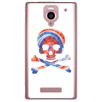 AQUOS PHONE Xx 302SH/SoftBank専用 SECOND SKIN スマートフォンケース Psychedelic skull ブルー×レッド クリア design by ROTM SSH302-PCCL-202-Y696