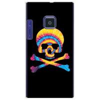 (スマホケース)Psychedelic skull ブルー×イエロー (クリア)design by ROTM / for LUMIX Phone 102P/SoftBank (SECOND SKIN)