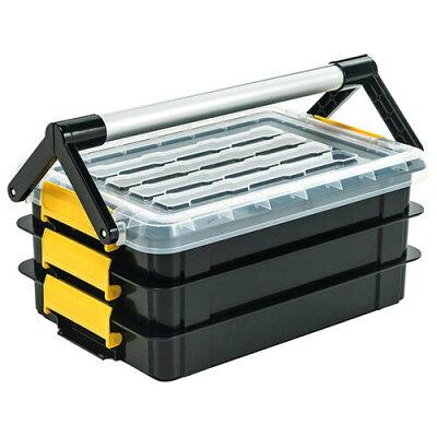ツールボックス工具箱プラスチックDIY工具入れ収納ボックス3段タックルボックス持ち運び取っ手付 EEX-TBX01