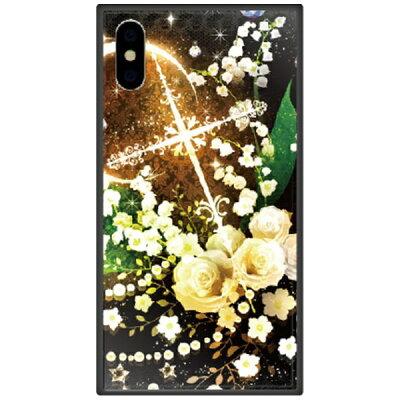 藤家 iPhone XS Max 6.5インチ用 幻想デザイン ガラスハイブリッド O. 白薔薇クロス