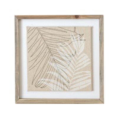 ヤシの葉をモチーフにしたリネンキャンバスのアートフレーム(66050)