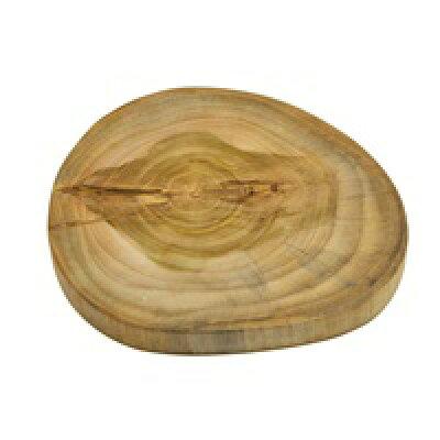 チークウッドの輪切りステージトレイ (M-約1.5cm)(約15.0x1.5cm) (11815)