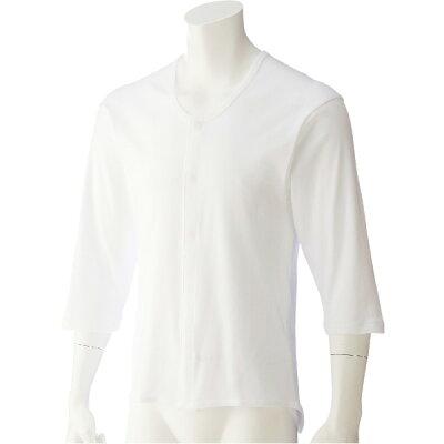 ケアファッション:7分袖乾燥機ホックシャツ 紳士 ホワイト M 01909 01
