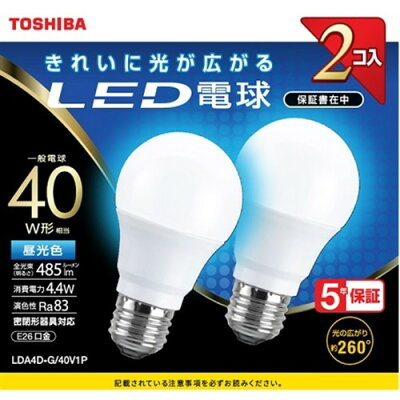 東芝 TOSHIBA LDA4D-G/40V1P LED電球 E26 /昼光色 LDA4DG40V1P