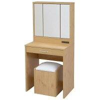 JKプラン 三面鏡 ドレッサー 幅60 隠し収納庫・椅子付き ナチュラル FLL0061NA