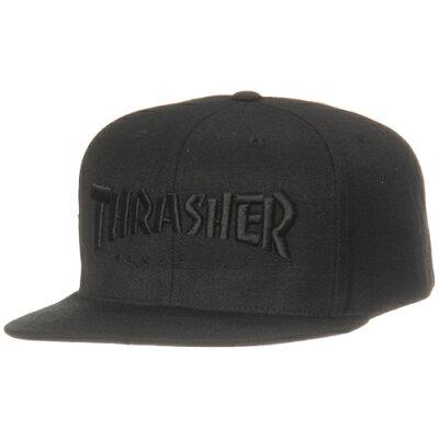 スラッシャー THRASHER TOP OF THEWORLDベース 平ツバキャップ ブラック/ブラック 15TH-C50