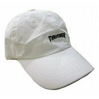 ローキャップ スラッシャー 白6パネルキャップ THRASHER ロゴ刺繍キャップ ホワイト CAP 16TH C25