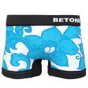 BETONES(ビトーンズ) ボクサーパンツ フリーサイズ 下着 メンズ レディース アンダーウェアALOHA2-A002-1 ブルー/ハイビスカス