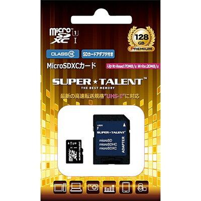 スーパータレント UHS-I microSDXCメモリーカード 128GB Class10 SDXC変換アダプタ付 ST28MSU1P