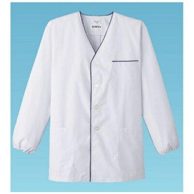 男性用デザイン白衣・長袖FA-375 L ホワイト SHK4803