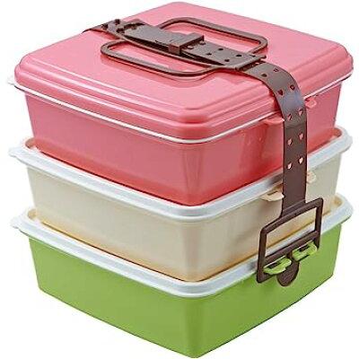 スタック式ピクニックケース ピンクとブルー 3段or2段にできる角型