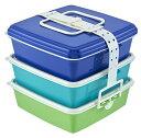 Colorsスタック式ピクニックケース角型 大 3段 グラデーション ブルー T-WORLD COLORSピクニツク カクダイB