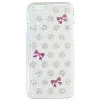 iPhone 6 ケース カバー ポリカ クリア ドット+R アイフォン ジャケシャン メタルシルバー/スプラッシュピンク