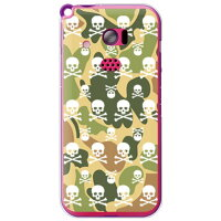 Skull monogram ウッドランド迷彩 (クリア)/for HONEY BEE 201K/SoftBank (SECOND SKIN)