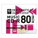 5 VERTEX CD-RAudio 80分 1P インクジェットプリンタホワイト 1CDRA80VX.WPX50