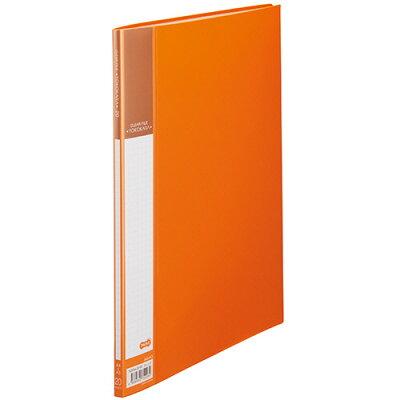 書類が入れやすいクリヤーファイル「ヨコカラ」 A4タテ 20ポケット 背幅8mm オレンジ 1冊
