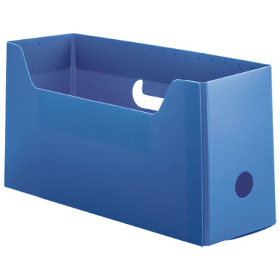 オリジナル TANOSEE PP製ボックスファイル 組み立て式 A4ヨコ ショートサイズ ブルー