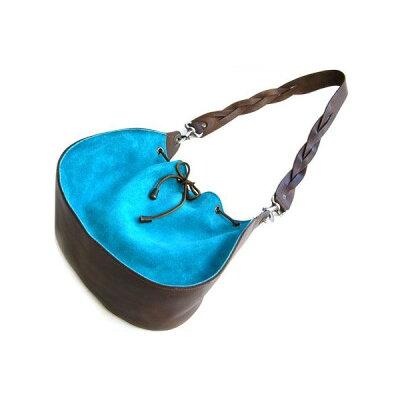 dean ディーンround shoulder bag w/drawstring レザーバッグ ターコイズ ハンドル/茶
