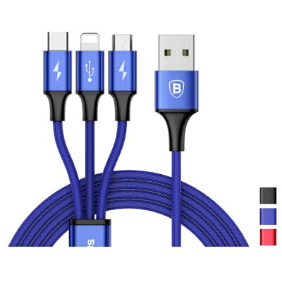 Lightning / Micro USB / USB Type-C 3in1 急速充電 ケーブル