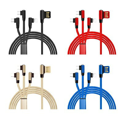 Lightning / Micro USB / USB Type C L字型 3in1 急速充電 ケーブル ライトニングケーブル