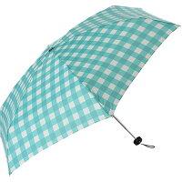 プラスニコ 折りたたみ傘 ギンガム チェック 5段 グリーン 50cm EE-02875