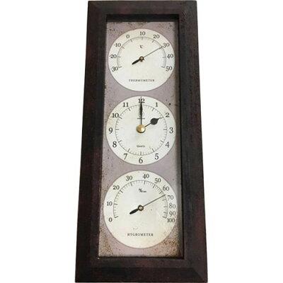 温湿度計付き Antique Clock 壁掛け用 タテ アイアン YT-903(1台)