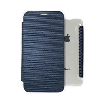 ROA iPhone XR 6.1インチ用 背面クリア手帳型ケース Metallic ネイビー